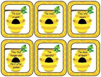 beatitudes matching cards  worksheets christian tpt