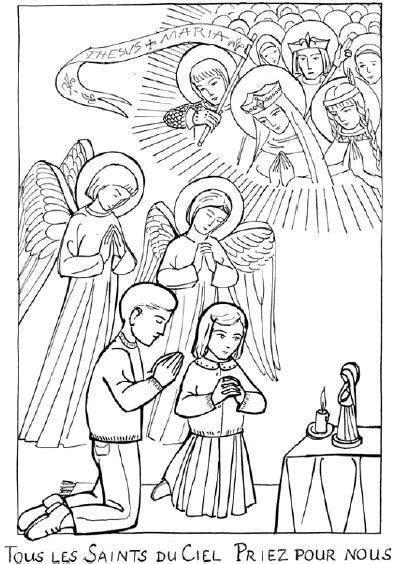 coloriage de la communion des saints  maintenant une