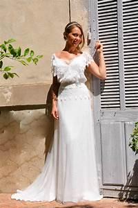 Robe De Mariage Champetre : robe de mari e boh me chic en dentelle jupe fluide ~ Preciouscoupons.com Idées de Décoration