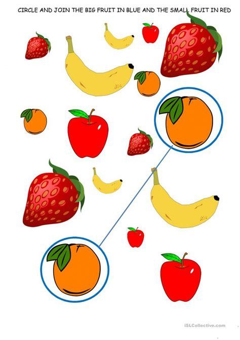 bigger  smaller fruits  veggies worksheets
