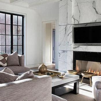 modern black marble fireplace mantel  tv niche