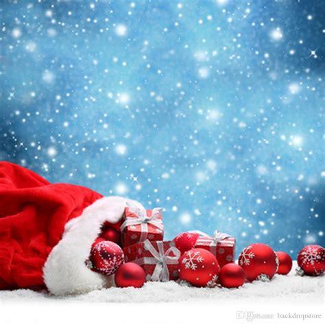 blue sky falling snowflakes backdrops bokeh merry christmas holiday balls gift boxes happy