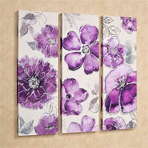 pretty in floral canvas triptych wall art set With floral wall art