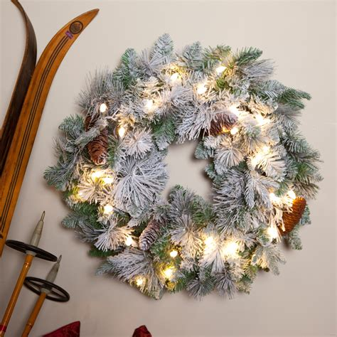 battery operated wreath lights 24 inch led battery operated flocked prelit wreath with