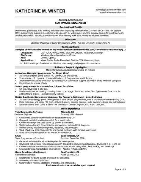 Resume Of An Experienced Software Engineer by Experienced Software Engineer Resume Task List Templates