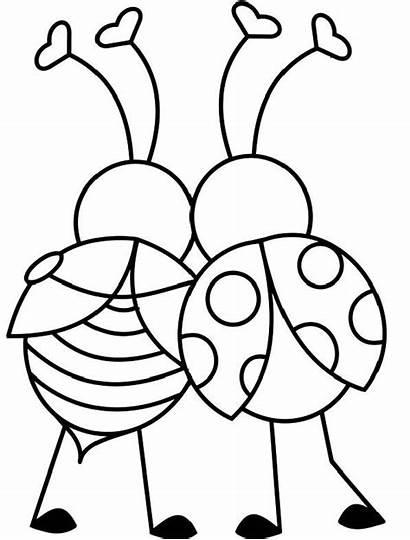 Coloring Ladybug Valentine Hug Heart Printable Valentines