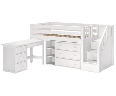 maxtrix great2l storage low loft bed with stairs desk