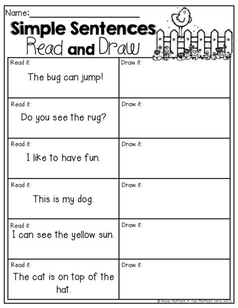 simple sentences read and draw read the simple sentences and draw a to match