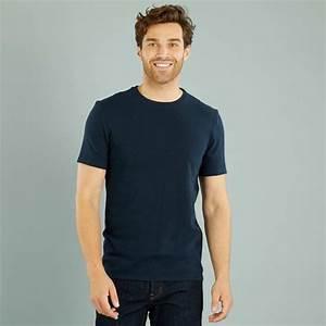 Kiabi T Shirt Homme : tee shirt en maille tiss e homme bleu marine kiabi 3 20 ~ Nature-et-papiers.com Idées de Décoration