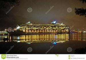 Night View Of Cruise Ship In Port Stock Photo - Image: 1692016