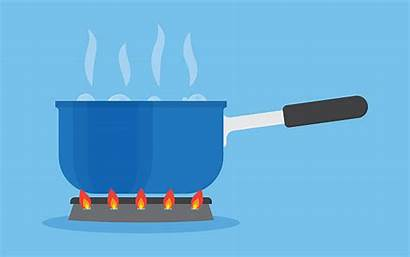 Boiling Stove Water Pan Kitchen Vector Boiled