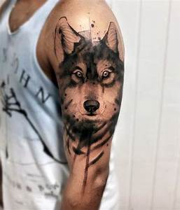 50 Wolf Watercolor Tattoo Designs For Men - Cool Ink Ideas