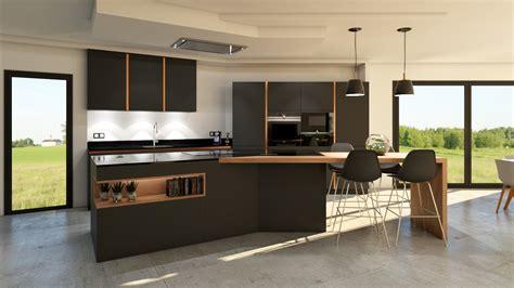 cuisine grise anthracite cuisine gris anthracite et bois photos de design
