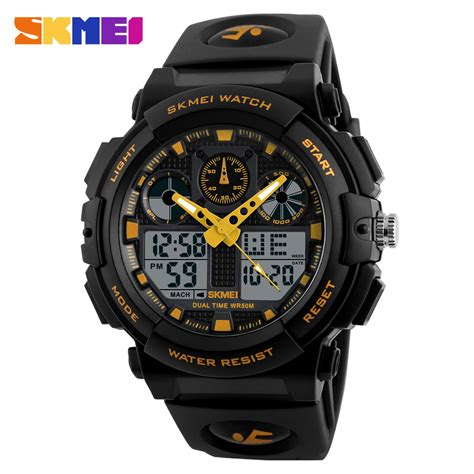 skmei jam tangan analog digital pria ad1270 black gold