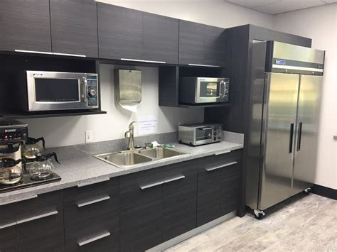 commercial work european style frameless cabinets  grey quartz countertops   science