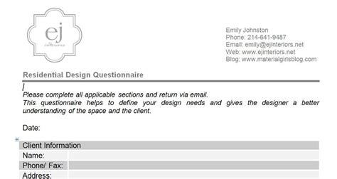 interior design questionnaire  clients anazhthsh