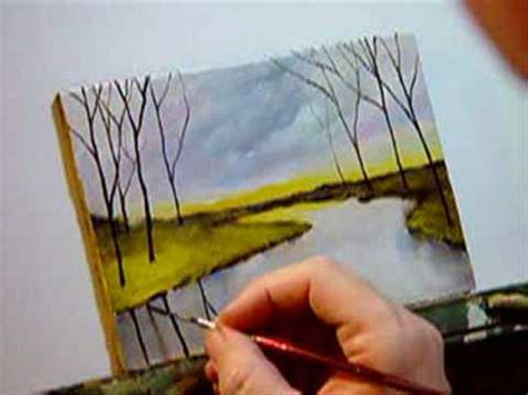 landscape painting  calm river painting demo lesson