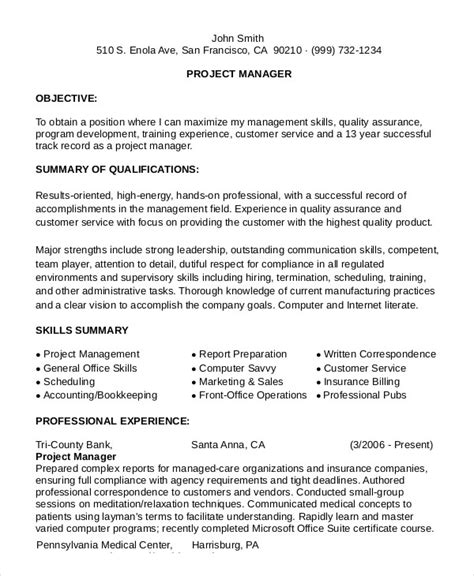 exle project manager resume 28 images infrastructure