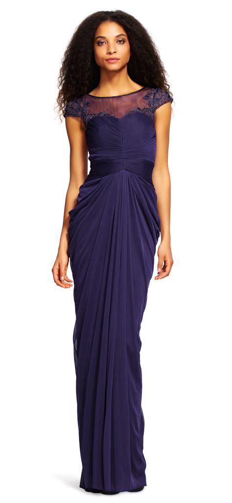 draped sleeve dress sleeve draped illusion dress papell