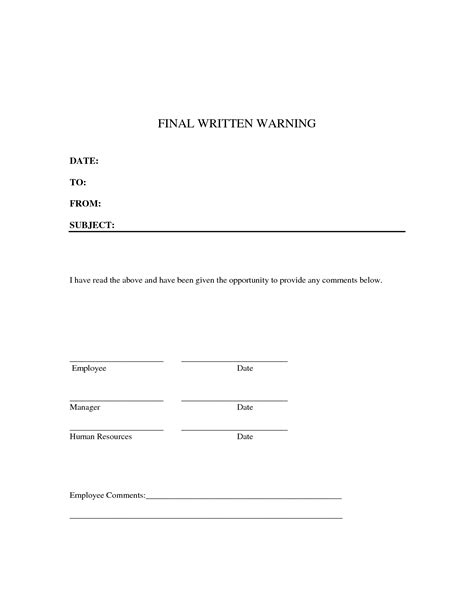 Written Warning Template 10 Best Images Of Written Notice Template Writing Notice