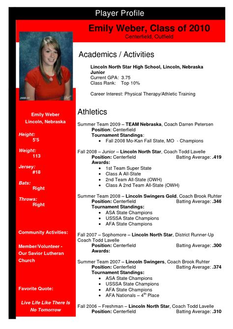 Soccer Player Profile Template by Softball Profile Sle Emily Weber Team Nebraska