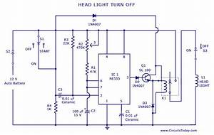 Automatic Car  Vehicle Head Lights Turn Off Circuit