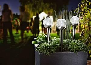 solar steckleuchten crackle balls 3er set bruch glas klar With französischer balkon mit solarleuchten für den garten mit farbwechsel