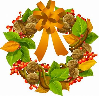 Wreath Fall Clip Clipart Autumn Season Nuts