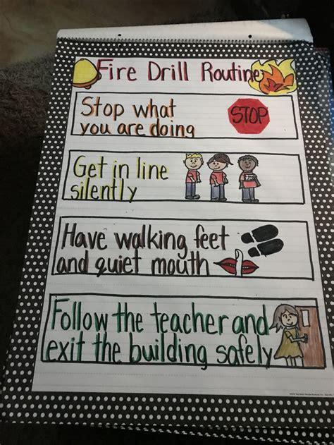 fire drill routine kindergarten anchor charts fire