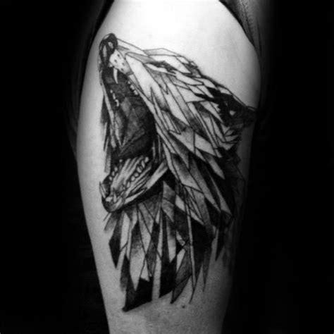 geometric wolf tattoo designs  men manly ink ideas