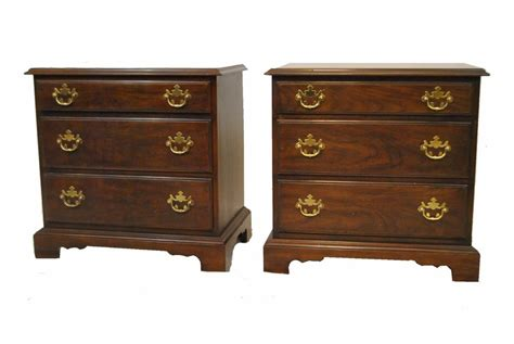 Pair Of Cherry Nightstands With Three Drawers By Drexel