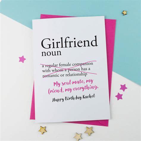 girlfriend personalised birthday card     alphabet