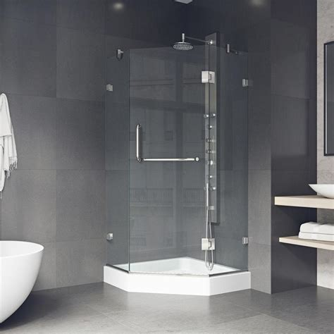 Glass Shower Enclosure Kits by Vigo Piedmont 40 25 In X 78 75 In Frameless Neo Angle