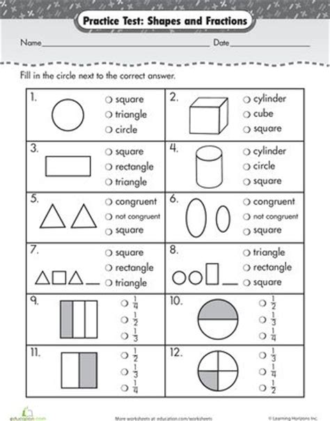 Practice Test Simple Shapes & Fractions  Shape, Simple And Worksheets