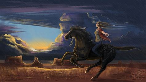 malerei pferde gezeichnet wolke freedom tiere maedchens