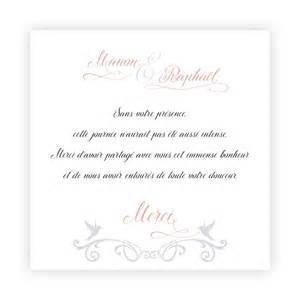 texte carte de remerciement mariage carte de remerciement mariage colombes arabesques grises n13c223 faire part de