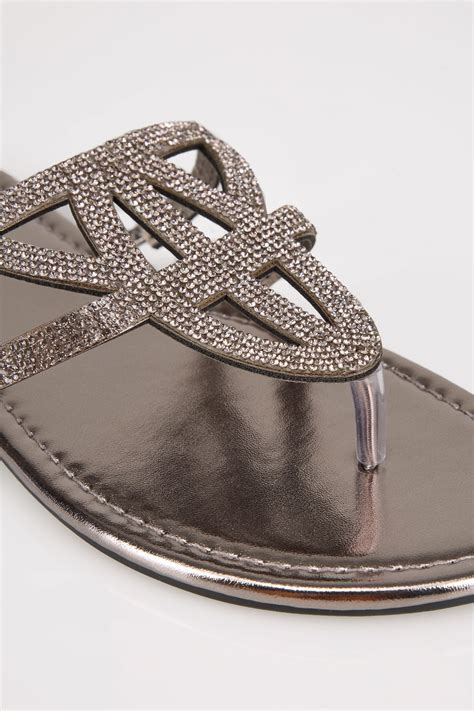 Sandales Lanieres Strass Metallique Pieds Larges Eee