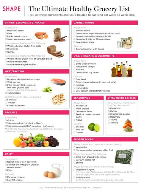 healthy foods  buy healthy grocery list shape magazine