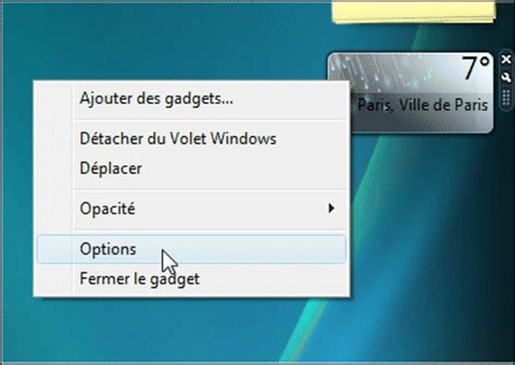 afficher la m 233 t 233 o sur le bureau windows vista