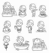 Routine Daily Activities Coloring Colouring Easy Istockphoto Drawing Drawings sketch template