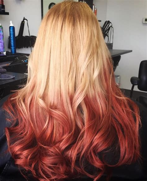 Reverse Ombre Blonde To Red Ombre Hair Blonde Blonde