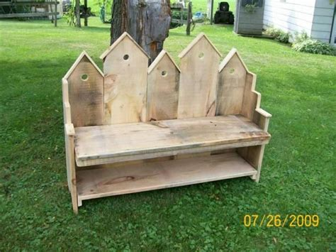 birdhouse bench   barn wood pallets