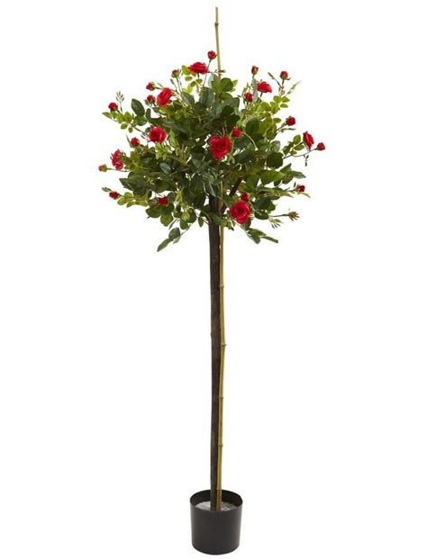 3' Rose Topiary Silk Tree  Artificial Trees  Silk Trees