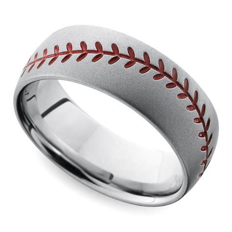 beadblasted baseball pattern s wedding ring in cobalt