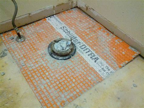 Tiling A Bathroom Floor Around A Toilet by Bathroom Can I Reuse Ditra Underlayment Home
