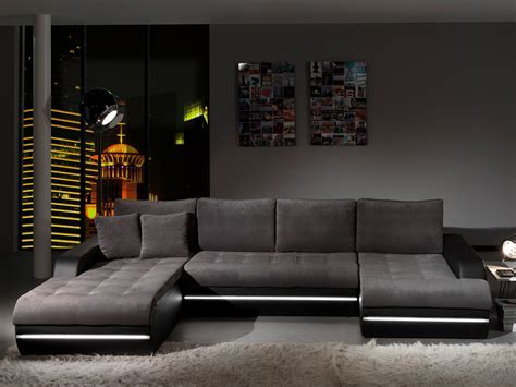 canap 233 d angle fixe design en tissu gris pu noir alamak