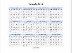Kalender 2028 Jaarkalender en Maandkalender 2028 met
