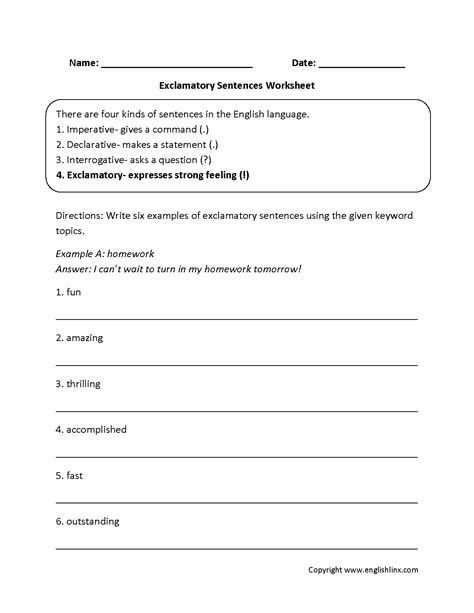 exclamatory types of sentences worksheets education