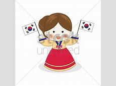 Korean girl holding south korea flags Vector Image