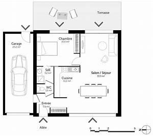 plan maison 70 m2 avec 1 chambre ooreka With plan maison 1 chambre